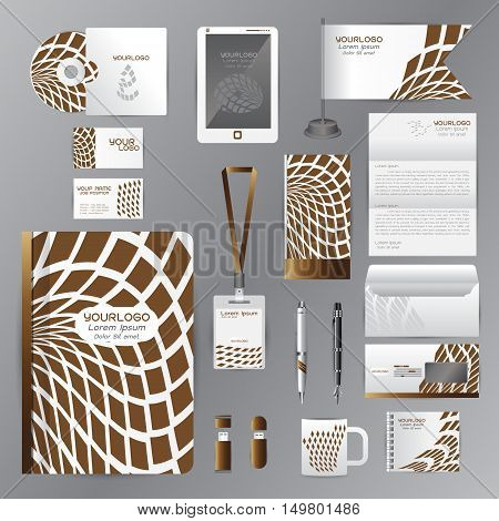 White identity template with brown origami elements. Vector company style for brandbook guideline and Pens mugs CDs books business cards letterhead flag Card Portfolio employees Tablet