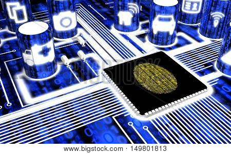 Secure circuit board with IOT icons in blue with a yellow fingerprint on the main chip 3D illustration security concept