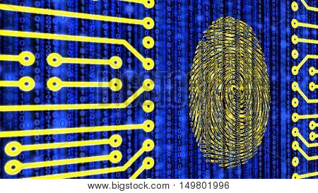 Fingerprint embedded in a circuit board on a blue digital datastream background 3D illustration
