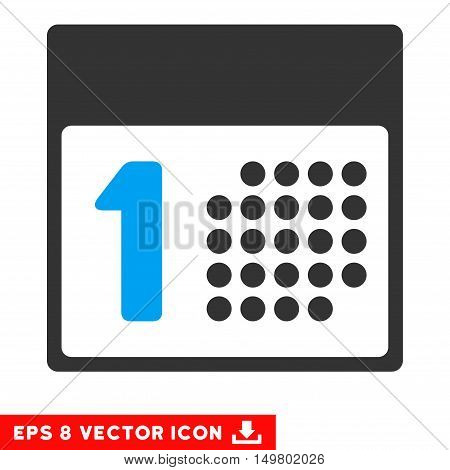 Blue And Gray First Day EPS vector pictogram. Illustration style is flat iconic bicolor symbol on a white background.