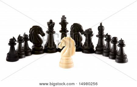 One White Knight In Front Of Black Chess