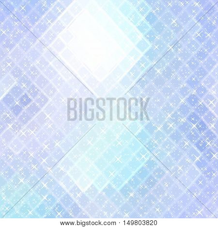 Gleaming light blue gradient polygonal background with little sparkling stars