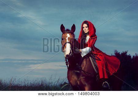 Beautiful Red Hood Princess Riding a Horse
