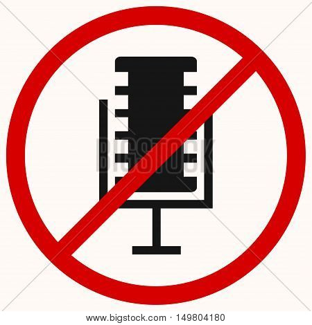 No recording sign. No microphone sign. Red prohibition vector symbol. You can simply change color and size