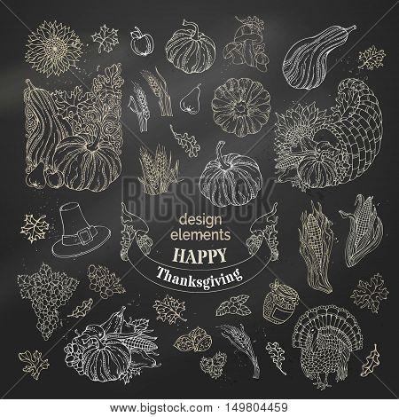 Vector Set Of Chalk Thanksgiving Design Elements.