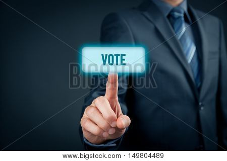 Electronic (internet) voting concept (e-voting). Businessman click on virtual button with text vote.