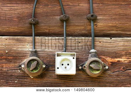 a wooden old beam are as old power switches