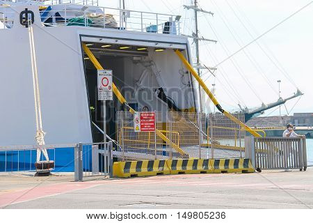 Piombino Italy - June 30 2015: Ferry boat Moby Love at berth in the seaport