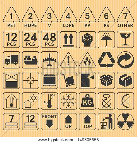 Set of packaging symbol collection,fragile,handle with care,delivery,flammable,max stack,up,top,keep dry,from sun light,do not rotate,recycle sign,plastic type,room temperature,don't hook,use trolley