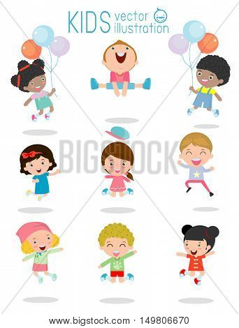 jumping kids, Multi-ethnic children jumping, Kids jumping with joy , happy jumping kids, happy cartoon child playing, Kids playing on white background , kids jamp,Vector illustration