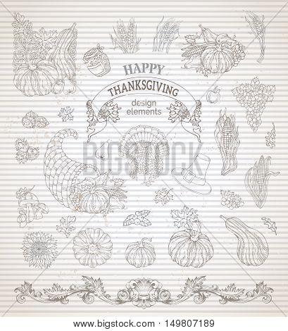 Vector Set Of Vintage Thanksgiving Design Elements.
