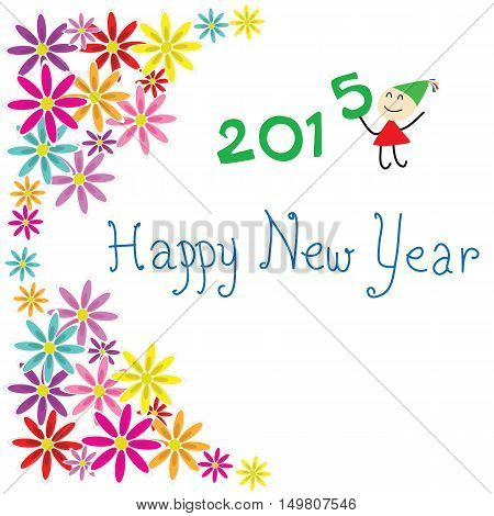 card flowers happy new year 2015 with child cartoon isolated