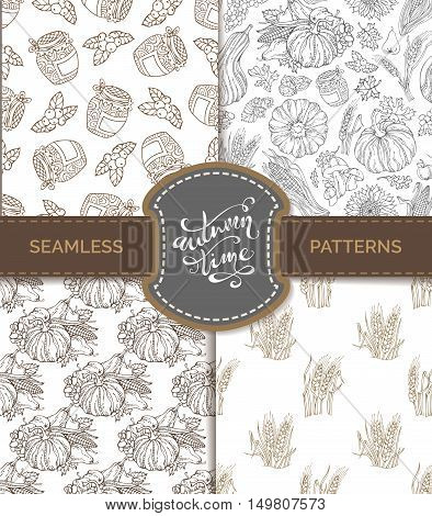 Vector Set Of Seamless Sketch Autumn Patterns.