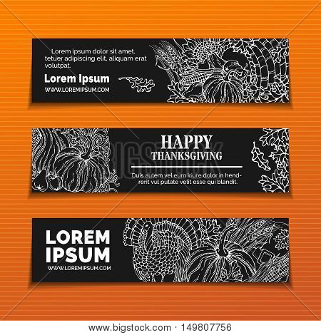 Vector Chalk Thanksgiving Horizontal Banners Set.
