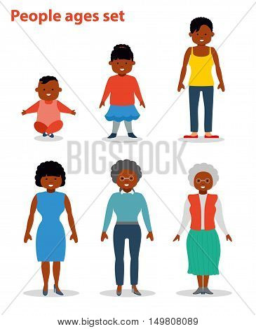 African american ethnic people generations at different ages. Woman african american ethnic aging - baby, child, teenager, young, adult, old. Flat illustration