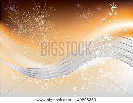 Christmas tree with bright stars and fireworks