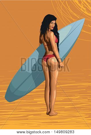 Beautiful girl sexy hot woman surfer surfing with surfboard sexy ass bikini backside swimsuit standing turned back. Vector closeup horizontal side view illustration erotica female beach background