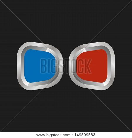 Vector illustration of 3d anaglyph glasses on a black background