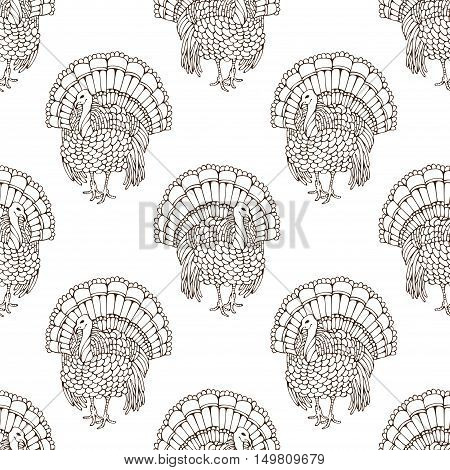Vector Seamless Sketch Turkey Pattern.
