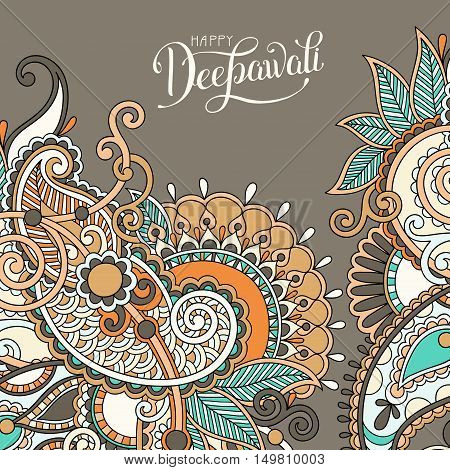 Happy Deepawali greeting card with hand written inscription to indian light community diwali festival, vector illustration