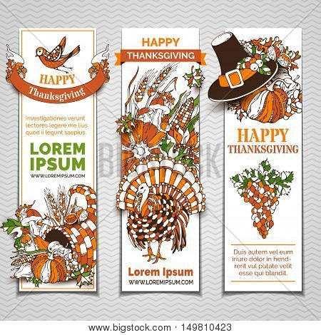 Vector Set Of Thanksgiving Banners.