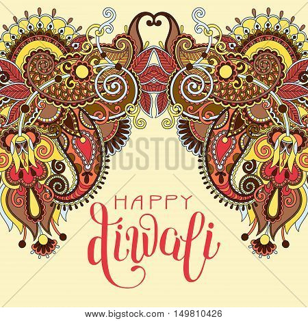 Happy Deepawali greeting card with hand written inscription to indian light community diwali festival, vector illustration