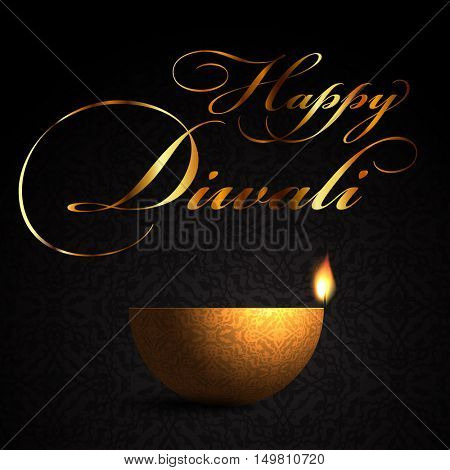 decorative background for Diwali celebration with burning oil lamp