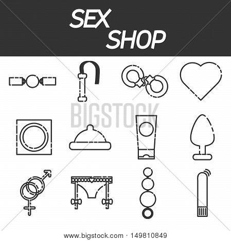 Sex shop icon set, sex toys, bdsm, vector illustration