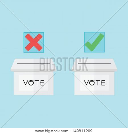 Voting Concept By Ballot Box Have True And Fail