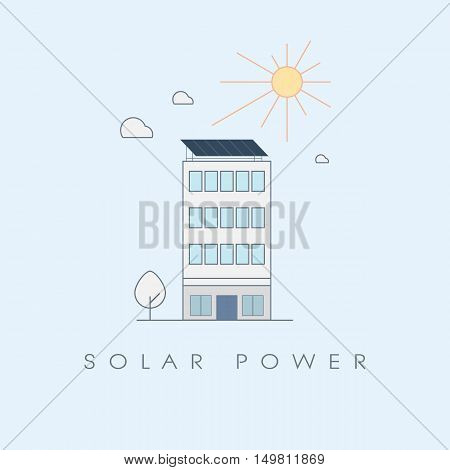 Solar power concept for office buildings. Ecological sustainable renewable energy technology symbol. Eps10 vector illustration.