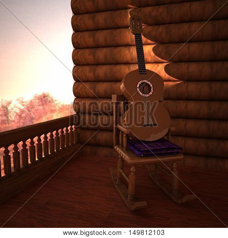 Rocking chair and guitar in a porch 3d rendering