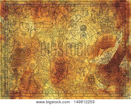 Antique Maya or pirate map on old paper texture background. Hand drawn illustration with treasure hunt, vintage adventures and old transportation concept. Doodle drawing with banner and compass rose