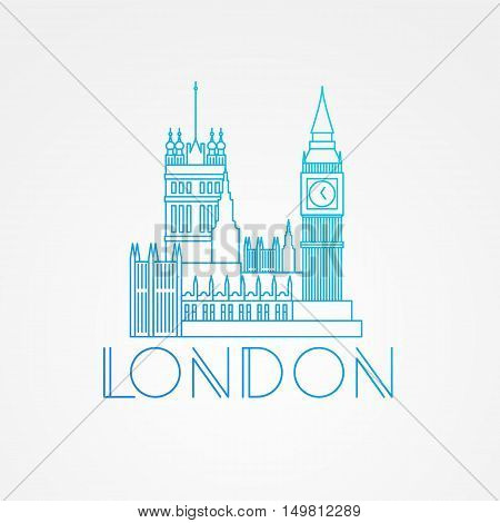 World famous Westminster with Big Ben. Greatest Landmarks of Europe. Linear modern style vector icon symbol of London, Great Britain. Minimalist one line Trendy symbol.