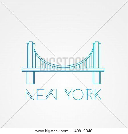 World famous Brooklyn Bridge. Greatest Landmarks of America. Linear modern style vector icon symbol of New York, US. Minimalist one line Trendy symbol.