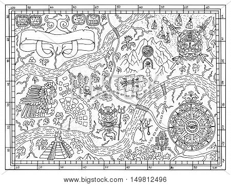 Ancient Maya or pirate map for adult or kids coloring book. Hand drawn vector illustration with treasure hunt, vintage adventures and old transportation concept. Doodle drawing with compass wind rose