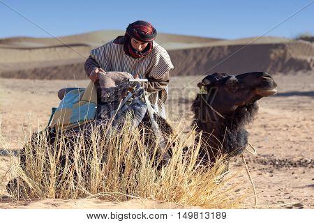 ERG CHEBBI, MOROCCO - JANUARY 6, 2014: Bedouin with camel waiting for tourist in Western Sahara. Tourism is an important item in the economy of Morocco