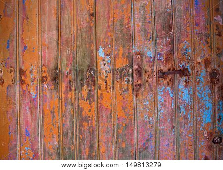 Colorful old wooden planking background close up