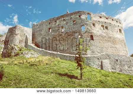 Ruin castle of Topolcany Slovak republic central Europe. Ancient architecture. Yellow photo filter. Beautiful place. Travel destination.