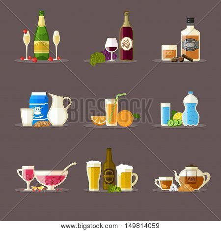 Different beverages with bottles, glasses and snacks. Champagne, wine, whiskey, milk, juice, water, punch, beer, tea.  Berries, chocolate, cookies, croissants.