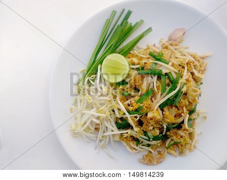 Pad Thai Noodles - Thai Food Style ,pad Thai, Stir-fried Rice Noodles With  Tofu. The One Of Thailan