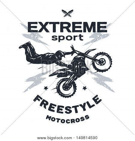 Extreme motocross Emblem t-shirt design Vector illustration.