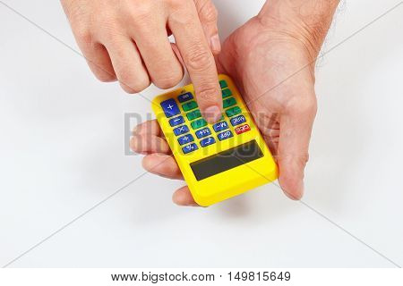 Hands holding a digital calculator on a white background