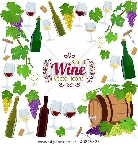 Background of wine icons with round frame. Template for packaging cards posters menu. Vector stock illustration.