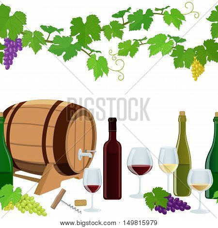Seamless horizontal borders of wine icons on a white background. Vector stock illustration.