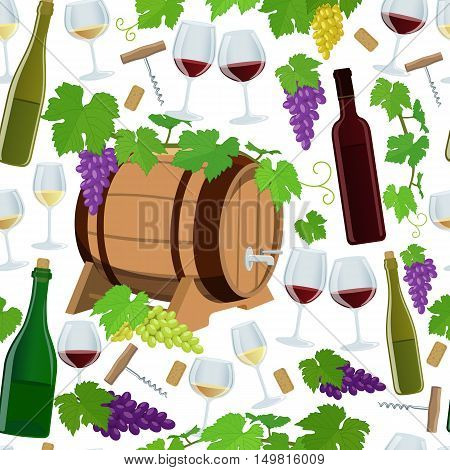 Seamless pattern of wine icons on a white background. Vector stock illustration.