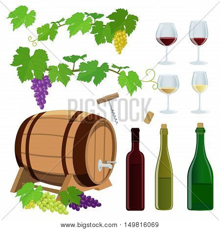 Set of wine icons. Vector stock illustration.