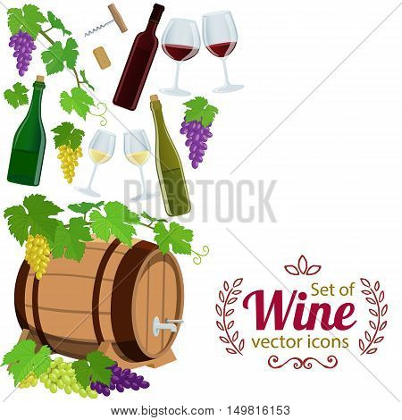 Side vertical border with wine icons. Template for packaging cards posters menu. Vector stock illustration.