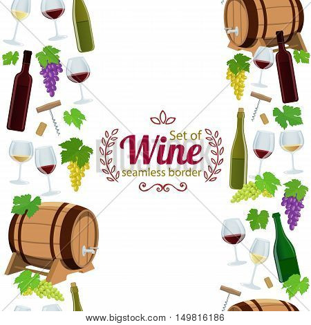 Vertical seamless borders of wine icons. Vector stock illustration.