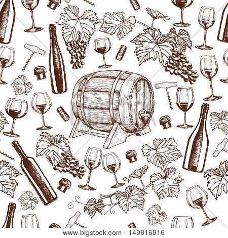 Seamless pattern of sketch wine icons on a white background. Vector stock illustration.