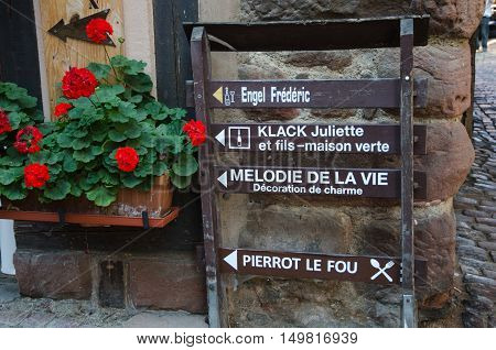 RIQUEWIHR, FRANCE - SEPTEMBER 13:  Idyllic street signs in the village Riquewihr in Alsace in France on September 13, 2016.
